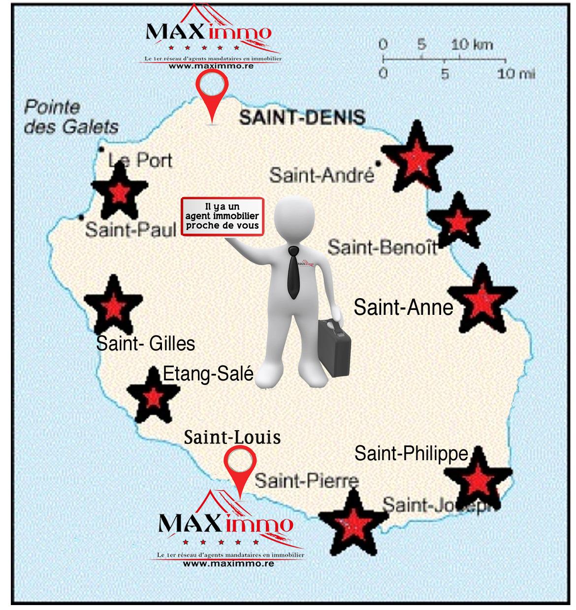 Carte Réunion avec emplacement MAXimmo